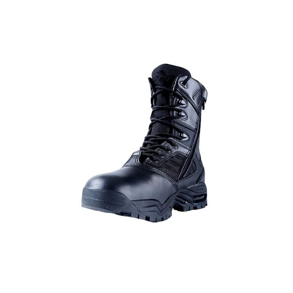 "Ridge Tactical Boots Mens Ultimate Zip Leather 8"" Shaft Black"