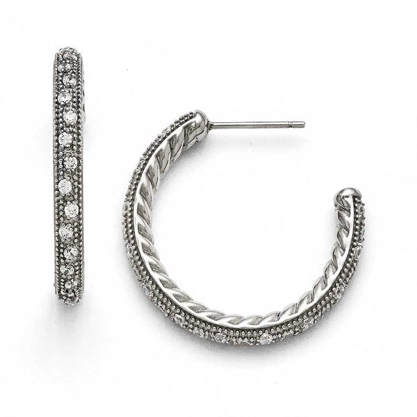 Chisel Stainless Steel Polished CZ Post Hoop Earrings