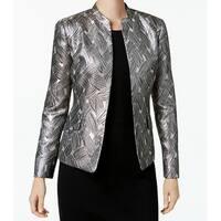 Kasper Beige Womens Size 6 Open Front Jacquard Metallic Jacket