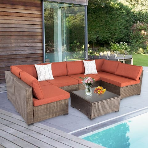 Kinsunny 7 Piece Outdoor Furniture, Patio Sectional Furniture Set, All-Weather Cushioned Rattan Wicker Sofa Set