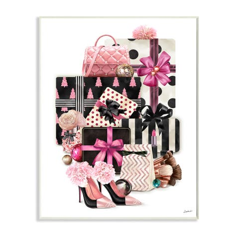 Stupell Industries Fashionista Christmas Gift Stack Glam Style Accessories Wood Wall Art