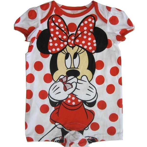 e6cc111c2af7 Shop Disney Baby Girls Red White Minnie Mouse Polka Dotted Bodysuit ...