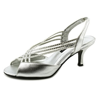 Caparros Phoebe Women Open-Toe Synthetic Silver Slingback Heel