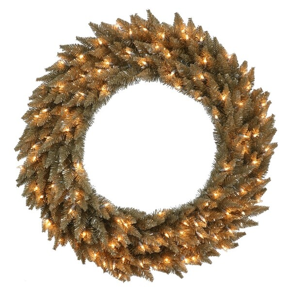 """36"""" Ant Champagne Wreath DuraLit 100CL"""