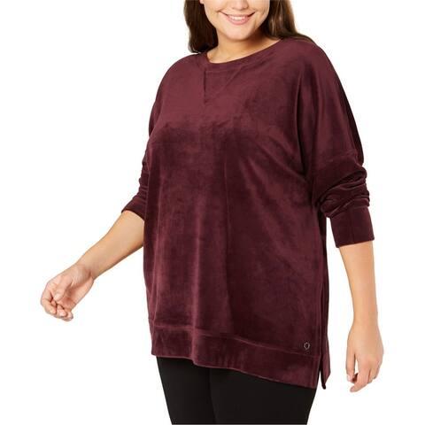 Calvin Klein Womens Velour Pullover Sweater, pink, 1X