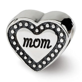Sterling Silver Reflections Mom Heart Bead (4mm Diameter Hole)