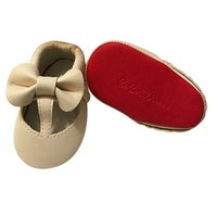 3e46a9b5ee41 Shop Baby Girls Melon Bow Faux Leather Moccasin Soft Sole Crib Shoes ...