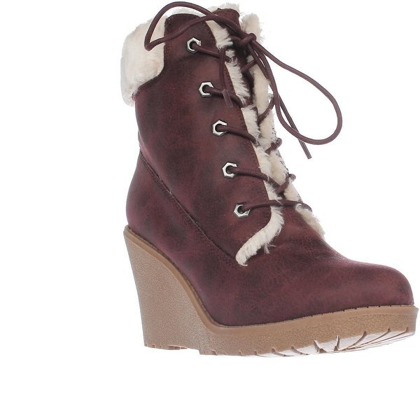 Dolce by mojo moxy Fresco Wedge Ankle Boot Booties, Burgandy