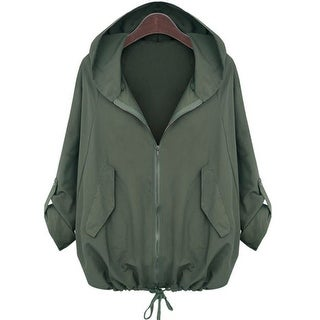 QZUnique Women's Plus Size Zipper Wind Coat Long Sleeve LooseSurcoat