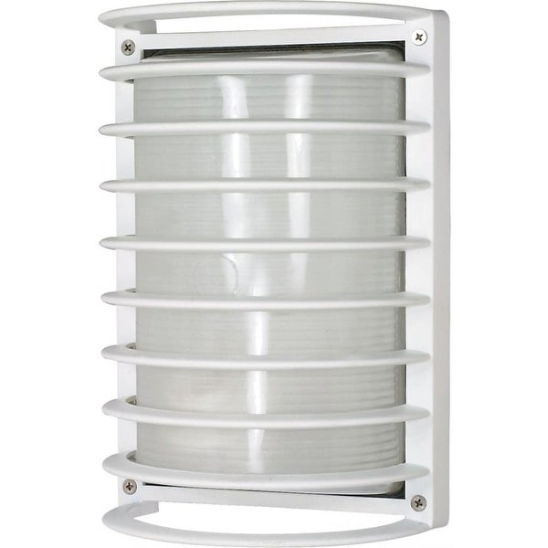 """Nuvo Lighting 60/532 1-Light 10"""" Tall Outdoor Wall Sconce with Patterned Glass Shade - semi gloss white - n/a"""