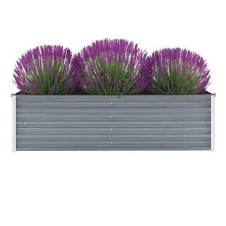 "vidaXL Garden Planter Galvanized Steel 63""x15.7""x17.7"" Gray"