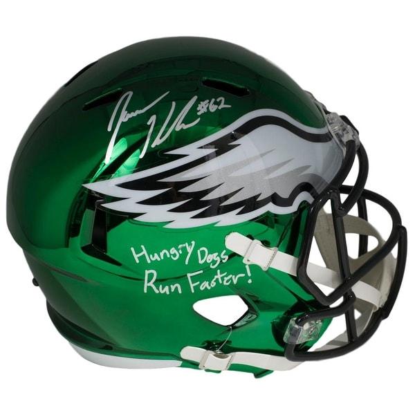 ad900d39eda Jason Kelce Signed Philadelphia Eagles Full Size Chrome Replica Speed Helmet  BAS