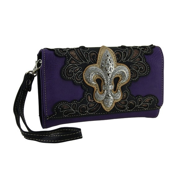Rhinestone Sparkle Fleur De Lis and Filigree Wallet with Removable Straps