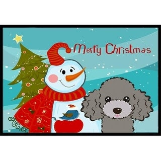Carolines Treasures BB1879MAT Snowman With Silver Gray Poodle Indoor & Outdoor Mat 18 x 27 in.