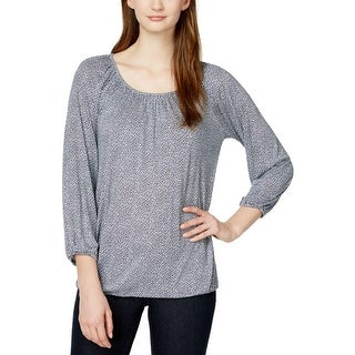 MICHAEL Michael Kors Womens Blouse Printed Scoop Neck