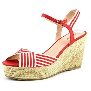 Nine West Breeze Women Open Toe Canvas Wedge Sandal
