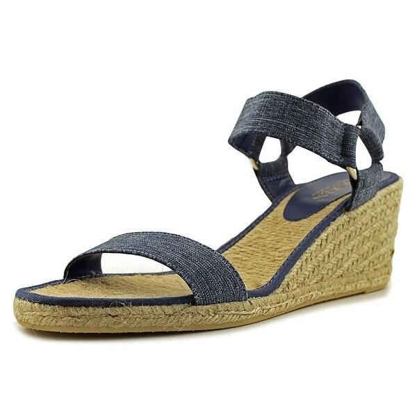 Lauren Ralph Lauren Ilene Women Open Toe Canvas Blue Wedge Sandal