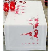 """16""""X40"""" - Gnomes Christmas Table Runner Stamped Embroidery Kit"""