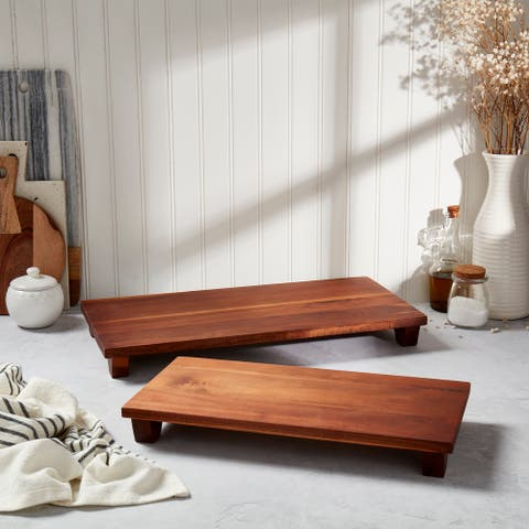Denmark Acacia Wood Plank Footed Boards - Set of 2