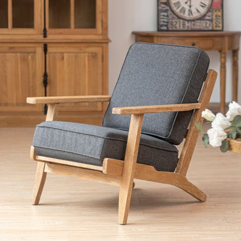 Crestlive Products Home Upholstered Wooden Lounge Chair with Cushions
