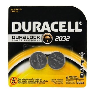 Duracell Lithium Medical Electronic Button Battery Size DL2032 3 Volt -Dual Pack Box of 6 (12 batteries)