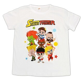 Novelty Street Fighter White Style 1 Group T-Shirt (Size Medium)