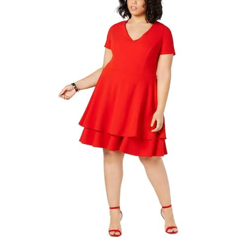 B. Darlin Womens Plus Cocktail Dress Bow-Back Fit & Flare - Bright Red