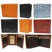 Leather Wallets Ostrich Snakeskin Print Trifold Bifold Zip-Around