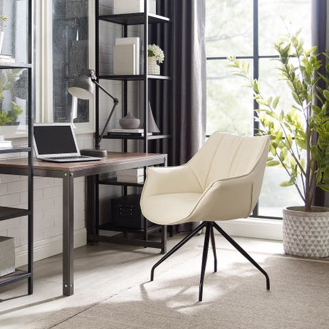 Art-Leon Modern Swivel Faux Leather Desk Chair with Black Metal Legs