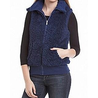 Kensie NEW Blue Women's Size XS Hood Sherpa Zip-Front Vest Sweater