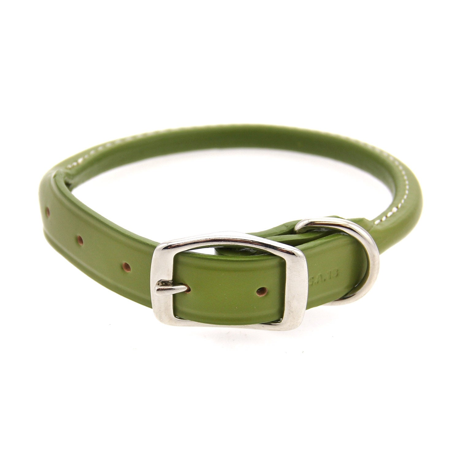 Round Leather Dog Collar by Auburn Leather (Green - 5/8 Width x 16 Length)