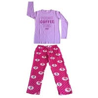 Women Cotton Top & Fleece Lined Pants Pajamas Set (Lavender)