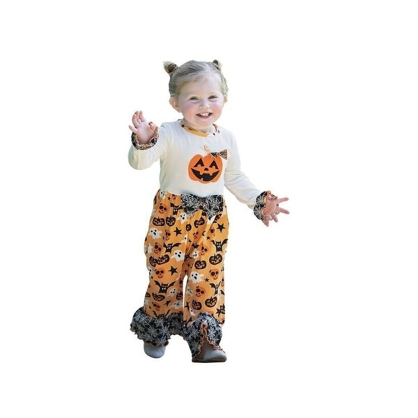 0a3f6608eb19 Shop AnnLoren Baby Girls Orange White Halloween Pumpkin Knit Romper ...
