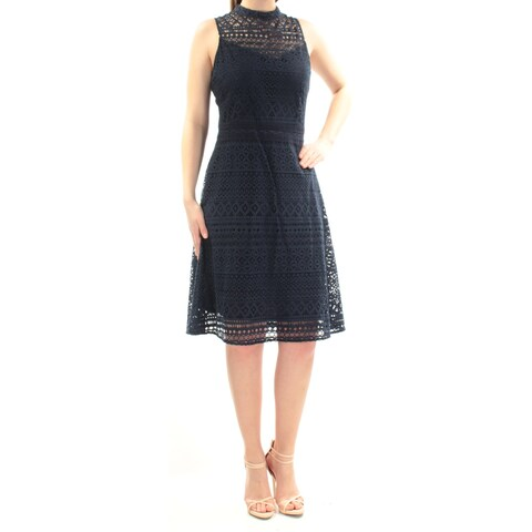 JESSICA SIMPSON Womens Navy Pleated Sleeveless Jewel Neck Below The Knee Dress Size: 14