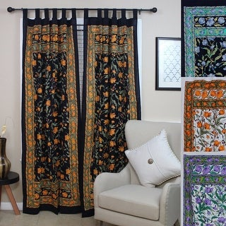 Handmade French Floral Tab Top Curtain 100% Cotton Drape Door Panel in Ivory Blue Black Amber & Violet - 44 x 88
