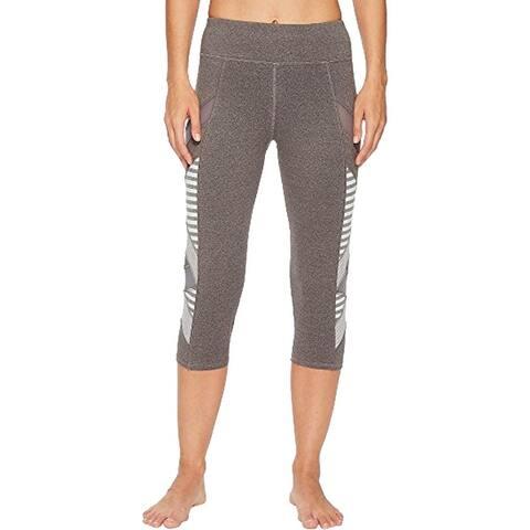 Splendid Women's Striped Colorblock Activewear Capri Fitness Leggings