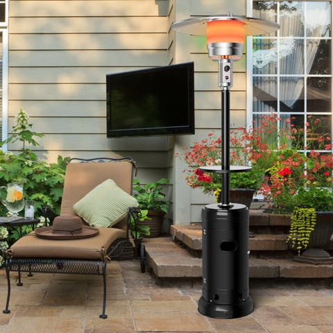 Gymax Outdoor Patio Heater Propane Standing LP Gas Steel W/Table & Wheels Black