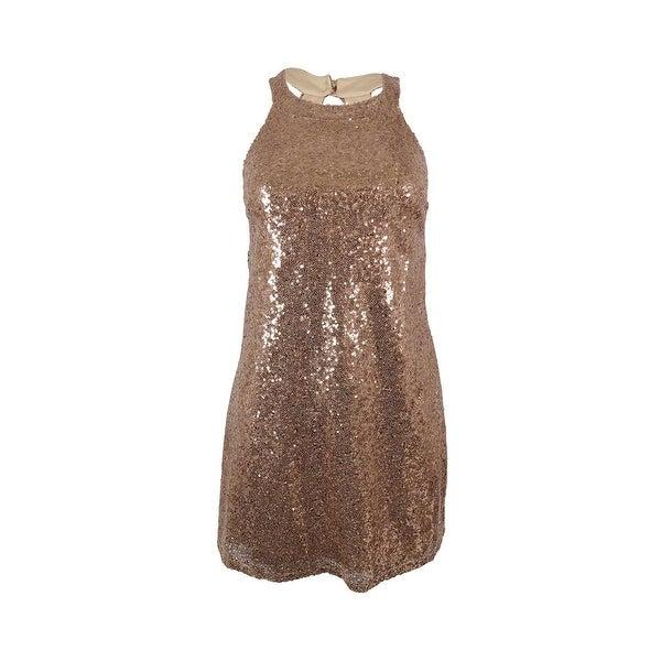 Speechless Juniors' Sequined Sleeveless Dress - rose gold
