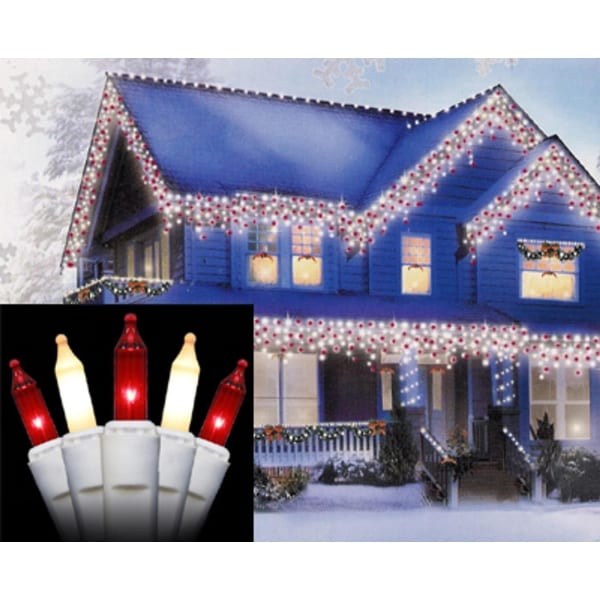Set of 100 Red and Frosted White Mini Icicle Christmas Lights - White Wire