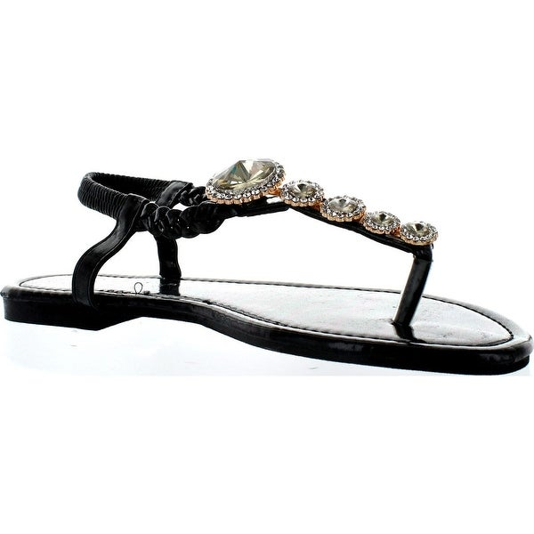 Sunny Day Jayden-19 Womens Braided Thong Toe Beautiful Gem Dress Flat Sandals - Black/Silver