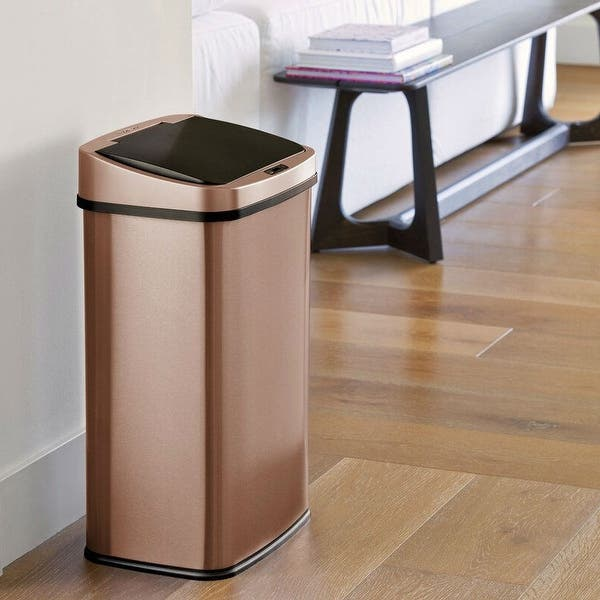Gold 13 Gallon Stainless Steel Kitchen Trash Can With Motion Sensor Lid 25 04 H X 15 24 W X 11 22 D Overstock 32072440
