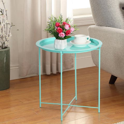 VECELO Round Table/ End Table Grn(Set of 1/Set of 2)