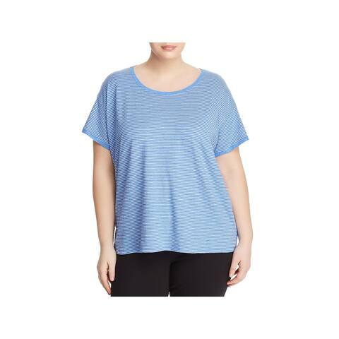 Eileen Fisher Womens Plus T-Shirt Striped Round Neck