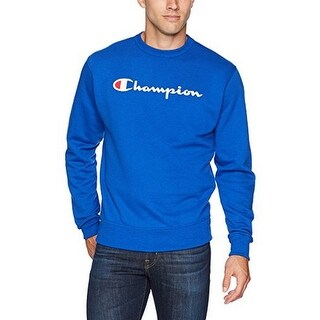 Champion Mens Logo Scrript Powerblend Fleece Crew