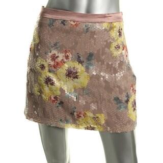 Eva Franco Womens Riva Sequined Printed Mini Skirt - 10