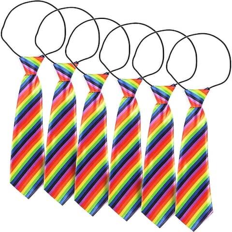 "6pc Rainbow Striped Gay Pride Neck Ties, Men Neckties for Costume Parties 10.6"""