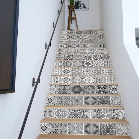 Walplus Black White Vintage Tiles Stairs Decals Wall Stickers Decor