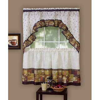 Achim Home Furnishings Coffee Tier And Swag Window Treatment Set, 57 By 36-Inch, Brown - 57x36