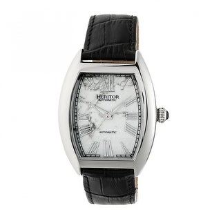 Heritor Automatic Baron Marbled-Dial Leather-Band Watch - Silver/White