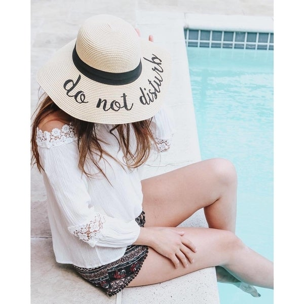 a4d4dbfe16c Shop Embroidered Floppy Sun Straw Hat - Free Shipping On Orders Over ...